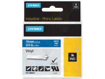 (5) DYMO PRO White Text - Blue Vinyl 19mm