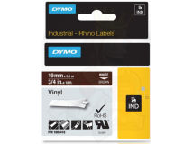 (5) DYMO PRO White Text - Brown Vinyl 19mm