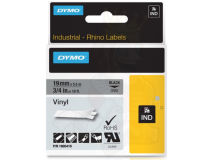 (5) DYMO PRO Black Text - Grey Vinyl 19mm
