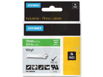 (5) DYMO PRO White Text - Green Vinyl 19mm