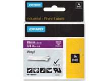 (5) DYMO PRO White Text- Purple Vinyl 19mm