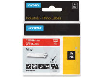 (5) DYMO PRO White Text - Red Vinyl 19mm