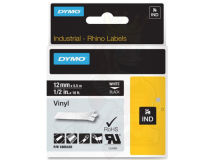 (5) DYMO White Text on Black Vinyl 12mm