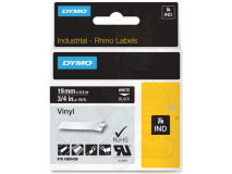 (5) DYMO White Text on Black Vinyl 19mm