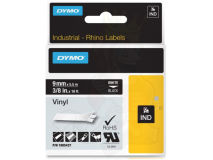 (5) DYMO White Text on Black Vinyl 9mm