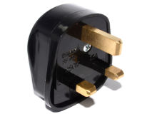 Rewireable UK Mains Plug Fused 5 Amp BLACK