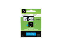(5) DYMO D1 Black Text on White Tape 19mm