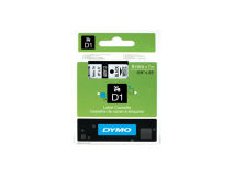 (5) DYMO D1 Black Text on White Tape 9mm