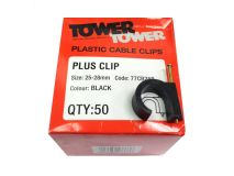 10 x (50) TOWER +25mm Black Clips